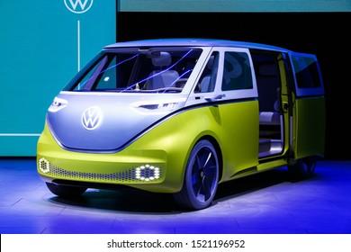 Frankfurt am Main, Germany  September 17, 2019: Electric minivan Volkswagen I.D.Buzz presented at the Frankfurt Motor Show IAA 2019 (Internationale Automobil Ausstellung).