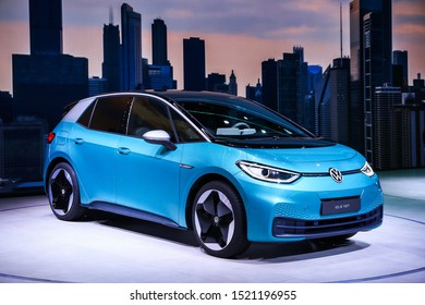 Frankfurt am Main, Germany  September 17, 2019: World premiere of the electric car Volkswagen I.D.3 at the Frankfurt Motor Show IAA 2019 (Internationale Automobil Ausstellung).