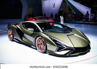 Frankfurt am Main, Germany - September 17, 2019: World premiere of the luxury supercar Lamborghini Sian FKP 37 at the Frankfurt Motor Show IAA 2019 (Internationale Automobil Ausstellung).