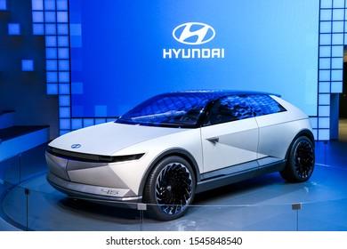 Frankfurt am Main, Germany - September 17, 2019: Electric concept car Hyundai 45 at the Frankfurt Motor Show IAA 2019 (Internationale Automobil Ausstellung).