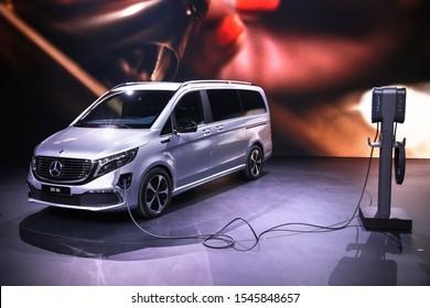 Frankfurt am Main, Germany - September 17, 2019: All-electric premium van Mercedes-Benz EQV300 at the Frankfurt Motor Show IAA 2019 (Internationale Automobil Ausstellung).