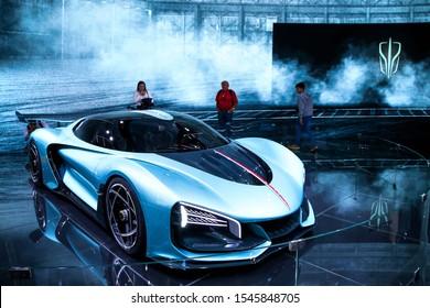 Frankfurt am Main, Germany - September 17, 2019: Chinese supercar Hongqi S9 at the Frankfurt Motor Show IAA 2019 (Internationale Automobil Ausstellung).