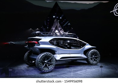 Frankfurt am Main, Germany - September 17, 2019: World premiere of the concept car Audi AI:Trail at the Frankfurt Motor Show IAA 2019 (Internationale Automobil Ausstellung).