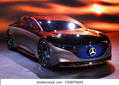 Frankfurt am Main, Germany - September 17, 2019: World premiere of the luxury car Mercedes-Benz Vision EQS at the Frankfurt International Motor Show IAA 2019 (Internationale Automobil Ausstellung).
