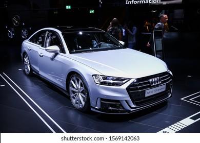 Frankfurt am Main, Germany - September 17, 2019: Luxury car Audi A8 presented at the Frankfurt International Motor Show IAA 2019 (Internationale Automobil Ausstellung).