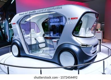 Frankfurt am Main, Germany - September 17, 2019: Autonomous shuttle concept Bosch IoT Shuttle at the Frankfurt International Motor Show IAA 2019 (Internationale Automobil Ausstellung).