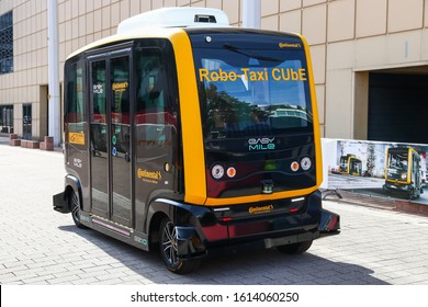 Frankfurt am Main, Germany - September 17, 2019: Autonomous shuttle concept Robo-Taxi CUbE by Continental and EasyMile at the Frankfurt Motor Show IAA 2019 (Internationale Automobil Ausstellung).