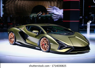 Frankfurt am Main, Germany - September 17, 2019: World premiere of the luxury supercar Lamborghini Sian FKP 37 at the Frankfurt Motor Show IAA 2019 (Internationale Automobil Ausstellung).