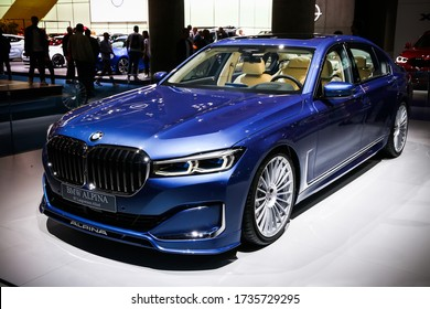 Frankfurt am Main, Germany - September 17, 2019: Saloon car Alpina B7 Langversion Allrad (BMW G12) presented at the Frankfurt International Motor Show IAA (Internationale Automobil Ausstellung).