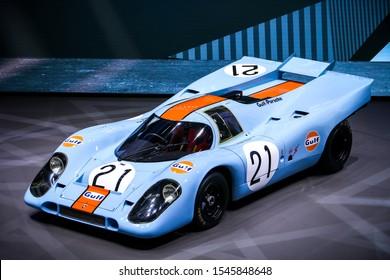Frankfurt am Main, Germany - September 18, 2019: Sports prototype race car Porsche 917 at the Frankfurt Motor Show IAA 2019 (Internationale Automobil Ausstellung).