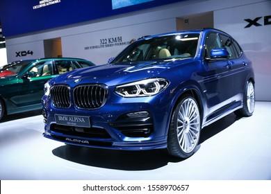 Frankfurt am Main, Germany - September 18, 2019: Blue crossover Alpina XD3 (BMW G01 X3) at the Frankfurt International Motor Show IAA 2019 (Internationale Automobil Ausstellung).