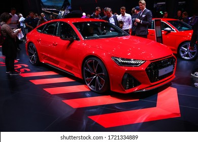 Frankfurt am Main, Germany - September 18, 2019: Red sportscar Audi RS7 presented at the Frankfurt International Motor Show IAA (Internationale Automobil Ausstellung).