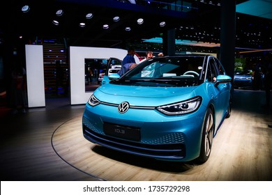 Frankfurt am Main, Germany - September 18, 2019: Electric car Volkswagen I.D.3 presented at the Frankfurt International Motor Show IAA (Internationale Automobil Ausstellung).