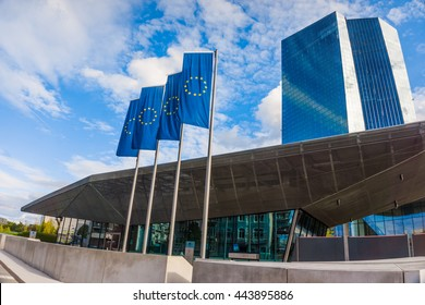 FRANKFURT AM MAIN, GERMANY - SEPTEMBER 19, 2015: New modern building of the European Central Bank, ECB in Frankfurt