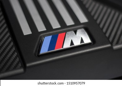 Frankfurt am Main, Germany - September 20 2019:  BMW M Sport logo during IAA exhibition in Frankfurt, Germany.
