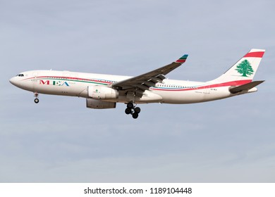 FRANKFURT AM MAIN, GERMANY - September 22, 2018: Lebanese MEA Middle East Airlines Airbus A330-200 with registration OD-MEA on short final for runway 25L of Frankfurt Airport.