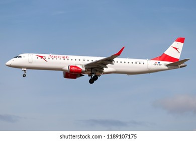 FRANKFURT AM MAIN, GERMANY - September 22, 2018: Austrian Airlines Embraer ERJ-195 with registration OE-LWP on short final for runway 25L of Frankfurt Airport.