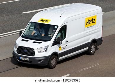 FRANKFURT AM MAIN, GERMANY - September 22, 2018: Ford Transit of Hertz on motorway. The Hertz Corporation is an American car rental company based in Estero, Florida.