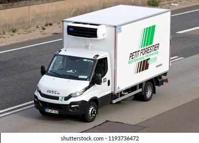 FRANKFURT AM MAIN, GERMANY - September 22, 2018: Petit Forestier van on motorway. Petit Forestier ist the European leader in refrigerated vehicle and container rental.