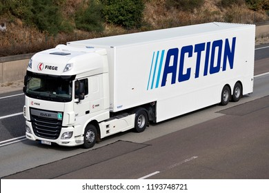 FRANKFURT AM MAIN, GERMANY - September 22, 2018: Action truck on motorway. Action is a Dutch discount store-chain, that sells low budget, non-food and some food products.