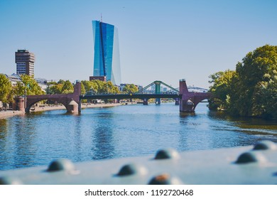 "Frankfurt am Main, Germany - September 30, 2018: headquarters of the European Central Bank or ECB in Frankfurt am Main. View from ""Eiserner Steg"" bridge with the river Main."