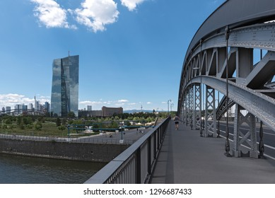 FRANKFURT AM MAIN, GERMANY-JUNE 27, 2018: the honsell bridge with new building of the european central bank (ezb) in Frankfurt am main, germany