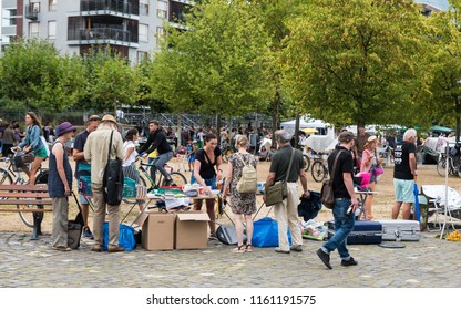 Frankfurt am Main, Hesse / Germany - 07 23 2018: Tourists and locals visiting the flee market at the banks of the river Main during the Sommerwerft 2018 festival