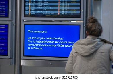 Frankfurt am Main, Hessen, Germany November 29, 2016: Flight information board displaying delayed and cancelled flights due to Lufthansa strike in Frankfurt am Main