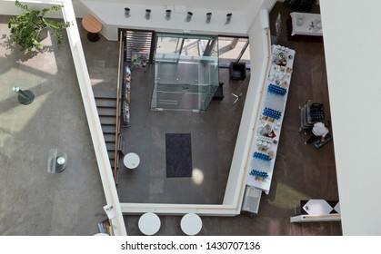 "Frankfurt am Main, Hessen/Germany - June 10, 2018: looking down in the inside of the building ""Haus am Dom"""