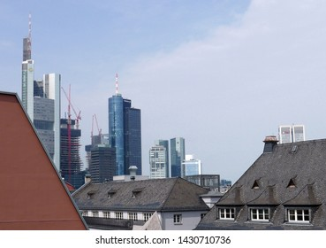 Frankfurt am Main, Hessen/Germany - June 10, 2018: view of the skyline of Frankfurt from the roof terrace of the Haus am Dom building
