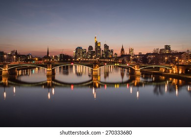 Frankfurt am Main. Image of Frankfurt skyline during sunset