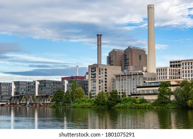 Frankfurt am Main industrial estate. Production plants in Germany. High chimneys.