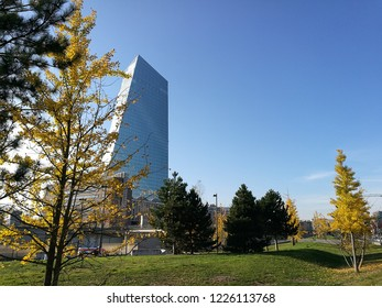 Frankfurt am Main, Ostend, Germany, November 2018: view on the European Central Bank, ECB on a sunny day