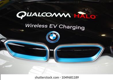 Frankfurt am Main - September 15 2017: Qualcomm Halo Wireless EV Charging BMW vehicle in Frankfurt am Main, Germany.