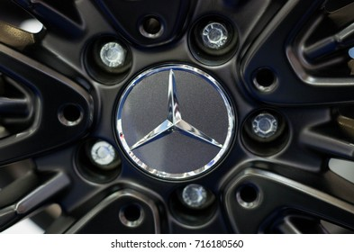 Frankfurt am Main - September 15 2017: Logo of Mercedes Benz on wheel - in display at international Motor Show on September 15 2017 in Frankfurt, Germany