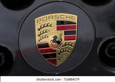 Frankfurt am Main - September 15 2017: Logo of Porsche on wheel - in display at international Motor Show on September 15 2017 in Frankfurt, Germany