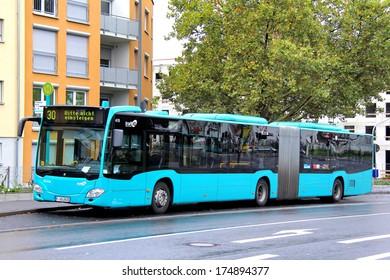 FRANKFURT AM MAIN - SEPTEMBER 16, 2013: Mercedes-Benz O530 Citaro G articulated bus of Verkehrsgesellschaft Frankfurt am Main mbH bus company at Dortelweiler stra?e bus stop.