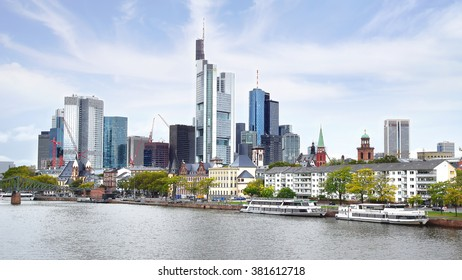 FRANKFURT AM MAIN - SEPTEMBER 26, 2012: Panorama of Frankfurt from Iron Bridge-Eiserner Steg is already well over 100 years old. View includes next buildings: Kaiserdom, Altstadt, Commerzbank Tower.