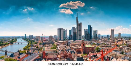 Frankfurt am Main skyline with blue sky