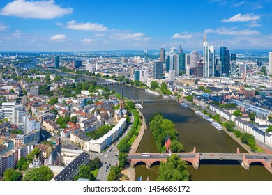 Frankfurt am Main skyline on a sunny day, Germany