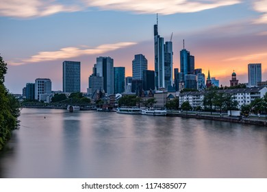Frankfurt am Main - Skyline - The View on the Financial District during the Sunset in Frankfurt/Germany