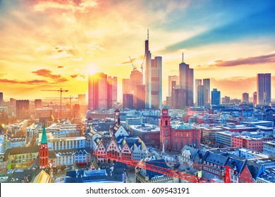 Frankfurt am Main at sunset, Germany