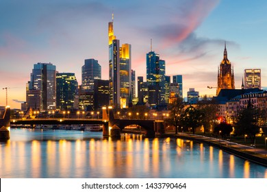 Frankfurt am main urban skyline with skyscrapers building at night in Frankfurt, Germany. Europe tourism, modern city life, or business finance and economy concept