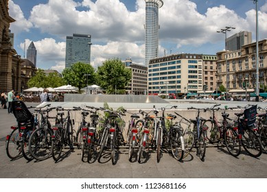 Frankfurt am Main,Germany-June 28,2018: Bicycle parking in front of the City's Central Train Station
