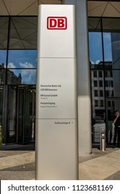 Frankfurt am Main,Germany-June 28,2018: Entrance to the headquarters of the german railroad Deutsche Bahn