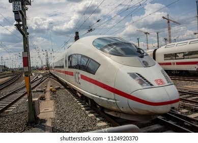 Frankfurt am Main,Germany-June 28,2018: An ICE High Speed Tran enters Frankfurt am Main Central station