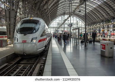 Frankfurt am Main,Germany-June 28,2018: Passengers leave a ICE High speed train at Frankfurt am Main Central Station