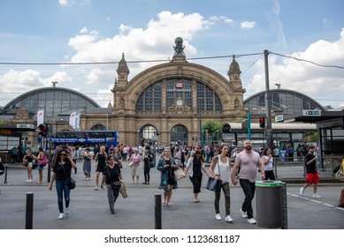 Frankfurt am Main,Germany-June 28,2018: People cross the street in front of Frankfurt am Main Central Station