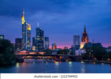 Frankfurt night cityscape, Germany photographed in Frankfurt am Main, Germany. Picture made in 2009.