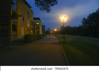 Frankfurt in Oder. Residential areas in evening, street lights, deserted streets, night city, unfrequented street, bedroom suburb